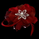 Elegance by Carbonneau Clip-8106-Red Red Bridal Feather Fascinator Clip Brooch 8106