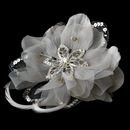 Elegance by Carbonneau Clip-8106-Silver Silver Feather Fascinator Clip with Brooch Pin 8106
