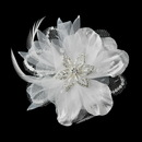 Elegance by Carbonneau Clip-8106-White * White Crystal Rhinestone Matte Satin & Organza Bridal Flower Hair Clip 8106 with Brooch Pin