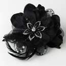 Elegance by Carbonneau Clip-8106 Black Feather Fascinator Clip with Brooch Pin 8106