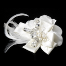 Elegance by Carbonneau Clip-8249-I Silver Ivory Feather Ribbon Bridal Hair Clip 8249