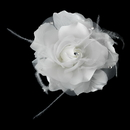 Elegance by Carbonneau Clip-8387 Lovely White Flower Hair Clip w/ Feathers & Clear Rhinestones 8387