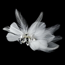 Elegance by Carbonneau Clip-8402 Elegant White Feather Hair Clip Adorn in Pearls Crystals & Rhinestones - Clip 8402