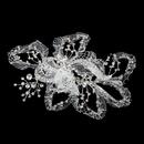 Elegance by Carbonneau Clip-9632 * Delicate Lace & Rhinestone Bridal Leaf Hair Clip 9632