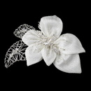 Elegance by Carbonneau Clip-9633 Silver & Ivory Fabric Accented w/ Crystals, Bugle Beads & Rhinestones Flower Hair Clip 9633