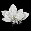 Elegance by Carbonneau Clip-9635 * Ornate Ivory Floral Hair Clip with Rhinestone Accentuations 9635
