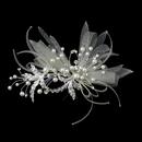 Elegance by Carbonneau Clip-9637 Silver Ivory Pearl, Rhinestone & Ribbon Design Hair Clip 9637