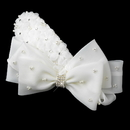 Elegance by Carbonneau Clip-9638 Silver Ivory Pearl & Rhinestone Accented Bow Hair Clip 9638