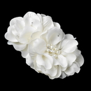 Elegance by Carbonneau Clip-9640-Ivory Ivory Pearl & Rhinestone Accent Bridal Flower Hair Clip 9640