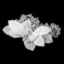 Elegance by Carbonneau Clip-9642 Pearl, Rhinestone & Bugle Bead Accent Flower Hair Clip 9642
