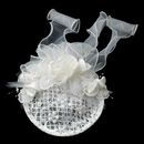 Elegance by Carbonneau Clip-9672 Elaborate Ivory Flower Russian Tulle Pearl Bridal Hair Cap Clip 9672