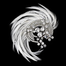 Elegance by Carbonneau Clip-9938-AS-Ivory Antique Silver Rhodium Crystal & Ivory Feather Fascinator Clip 9938