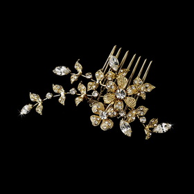 Elegance by Carbonneau Comb-11145-gold Gold Floral Vine Crystal Accent Versatile Brooch 11145