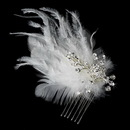 Elegance by Carbonneau Comb-1534 Feather Bridal Hair Accent Comb 1534