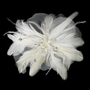 Elegance by Carbonneau Comb-1535 Silver Freshwater Pearl Flower Feather Fascinator Comb 1535