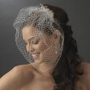 Elegance by Carbonneau Comb-2075-Silver Enchanting Swarovski & Rhinestone Flower Comb & Birdcage Veil 2075