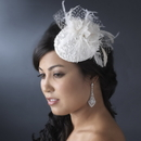 Elegance by Carbonneau Comb-3027 Emroidered Feather Flower Bridal Hat Comb with Russian Tulle Accent in White or Ivory 3027