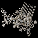 Elegance by Carbonneau Comb-4110-RD-IV Rhodium Floral Vine Comb with Ivory Pearl & Rhinestone Accents
