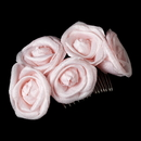 Elegance by Carbonneau Comb-4647-Pink Charming Pink Flower Bridal Hair Comb 4647