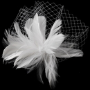 Elegance by Carbonneau Comb-750-Diamond-White Flower Feather Fascinator with Russian Tulle Veiling Accent on Comb 750