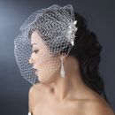 Elegance by Carbonneau Comb-8118 Geometric Rhinestone & Swarovski Crystal Silver Comb on White or Ivory Birdcage Veiling 8118