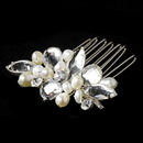 Elegance by Carbonneau Comb-8247-S Dazzling Silver Clear Rhinestone & Freshwater Pearl Bridal Comb 8247