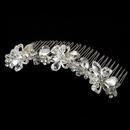 Elegance by Carbonneau Comb-8257 Charming Floral Silver Clear Swarovski Crystal & Rhinestone Bridal Comb 8257