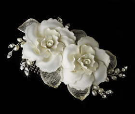 Elegance by Carbonneau Comb-8322 Twin Rose Bridal Hair Comb 8322