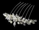 Elegance by Carbonneau Comb-8837-S Stunning Silver Floral Bridal Hair Comb w/ Rhinestones & Swarovski Crystals 8837