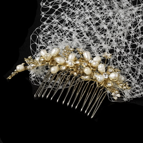 Elegance by Carbonneau Comb-8933-GI Ivory Pearl Covered Comb with Attached Russian Tulle Blusher Veil in Gold 8933