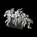 Elegance by Carbonneau Comb-8988-Silver Lovely Silver Bridal Comb w/ White Pearls & Clear Rhinestones 8988