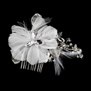 Elegance by Carbonneau Comb-8990-White Fabulous White Feather Bridal Comb or Clip w/ Rhinestones & Swarovski Crystals 8990