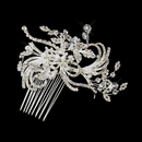 Elegance by Carbonneau Comb-925-S-Clear Silver Clear Austrian Crystal Swirl Flower Hair Comb 925