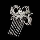 Elegance by Carbonneau Comb-926-AS-Clear Antique Silver Clear Crystal & Rhinestone Ribbon Swirl Hair Comb 926