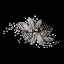 Elegance by Carbonneau Comb-935-A-Clear Antique Silver Crystal Flower Bridal Hair Comb 935