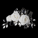 Elegance by Carbonneau Comb-942 Silver Crystal Ivory Chiffon Flower Hair Comb 942