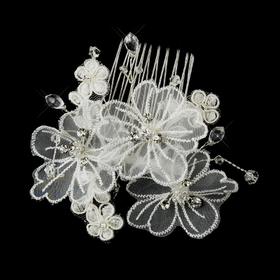Elegance by Carbonneau Comb-950 Silver Crystal Organza Flower Bridal Hair Comb 950