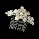 Elegance by Carbonneau Comb-9805 Delightful Silver Hair Comb w/ Clear Rhinestones & Ivory Pearls 9805