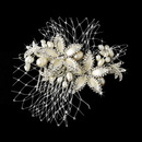 Elegance by Carbonneau Comb-9813 Lovely Ivory Rum Pink Floral Hair Comb w/ Freshwater Pearls 9813