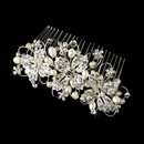 Elegance by Carbonneau Comb-9814 Delightful Silver Floral Bridal Comb w/ Clear Rhinestones & Ivory Freshwater Pearls 9814