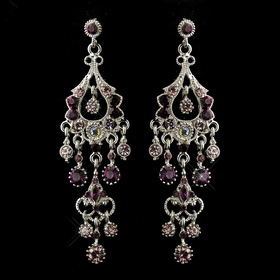 Elegance by Carbonneau E-1028-AS-Amethyst Antique Silver Amethyst AB Crystal Chandelier Bridal Earrings 1028