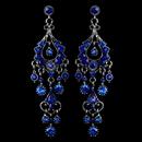 Elegance by Carbonneau E-1028-AS-Blue Antique Silver Blue Rhinestone Chandelier Earrings 1028