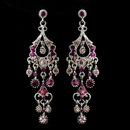 Elegance by Carbonneau E-1028-AS-Pink Antique Silver Pink AB Crystal Chandelier Bridal Earrings 1028