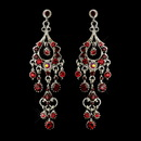 Elegance by Carbonneau E-1028-AS-Red Antique Silver Red AB Crystal Chandelier Bridal Earrings 1028