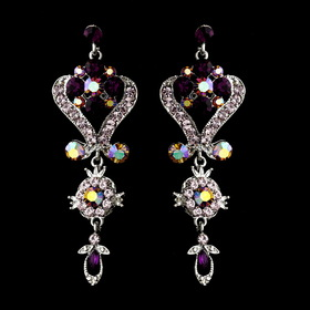 Elegance by Carbonneau e-1031-amethyst Silver Amethyst Purple Chandeleir Crystal Earrings 1031