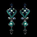 Elegance by Carbonneau e-1031-aqua-turquoise-navy Antique Silver Dark & Teal Blue Chandelier Crystal Earrings 1031