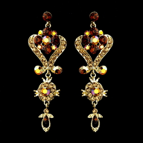 Elegance by Carbonneau e-1031-gold-lt-colorado Gold Brown Multi Crystal Chandelier Earrings 1031