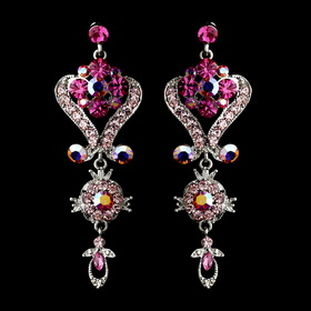 Elegance by Carbonneau e-1031-pink Silver Pink Multi Crystal Chandeleir Earrings 1031