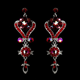 Elegance by Carbonneau e-1031-red Silver Red Multi Crystal Chandelier Earrings 1031
