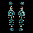 Elegance by Carbonneau E-1033-Blue-Brown Gold Blue Brown Earring Set 1033